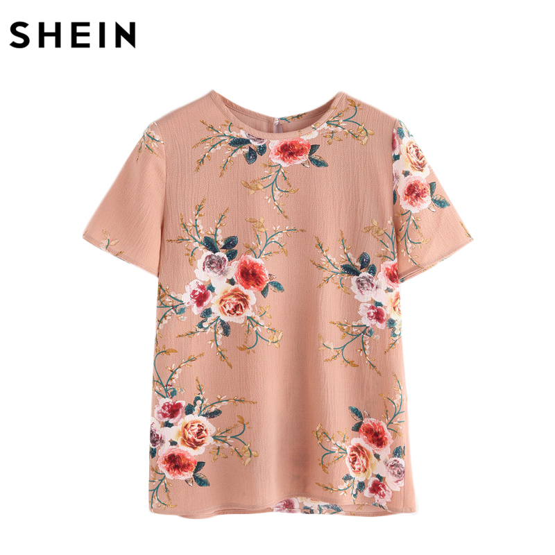 SHEIN Button Closure Back Flower Print Top Summer Elegant Women Tops and Blouses Pink Short Sleeve Floral Blouse