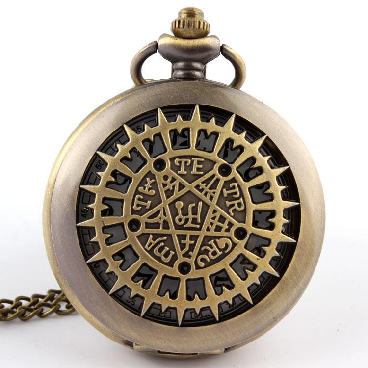 Fashion Vintage Hollow Bronze Hollow TE TR R MA T ABC Pocket Watch Necklace Pendant Watch Gift P220