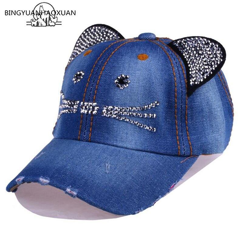 BINGYUANHAOXUAN Unisex Baseball Cap Children Cat Ears Rivets Sun Cowboy Hat Snapback Cap For Boy Girls Casual Cap Bone Gorro