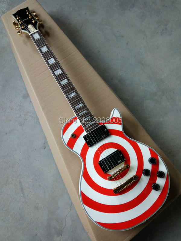 Hot Sale LP Custom Plus Zakk Electric Guitar Red and White Bullseye. Mahogany body,one piece neck can be choice. golden hardware hot selling chinese black lp custom electric guitar mahogany guitar body