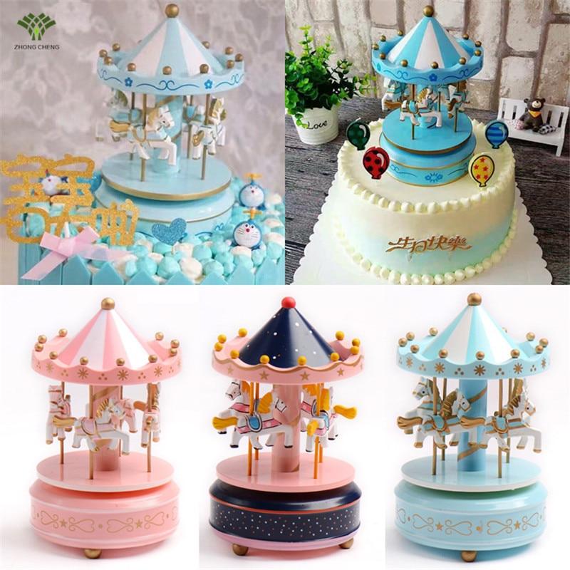 1pcs Carousel Cake Topper Wooden Carousel Music Box Birthday Cake