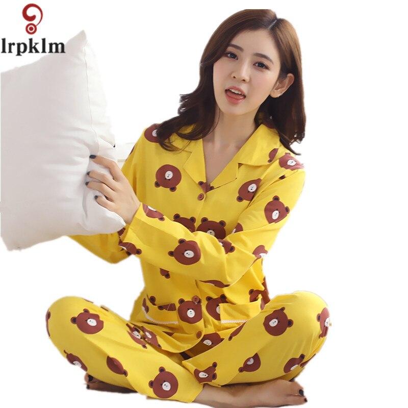 Women Autumn Spring Pajamas Soft Cartoon Printing Home Suit Women Cotton Pyjama Sleepwear Plus Size 4XL