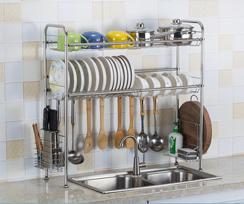 2019 New Stainless steel drain dish rack Double-layer dish cutlery storage rack Multi-function kitchen rack
