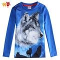 Ad весна мальчики футболки 3D печать волк голубой длинным рукавом дети футболка малыш детей одежда одежда миньон roupas infantis menino