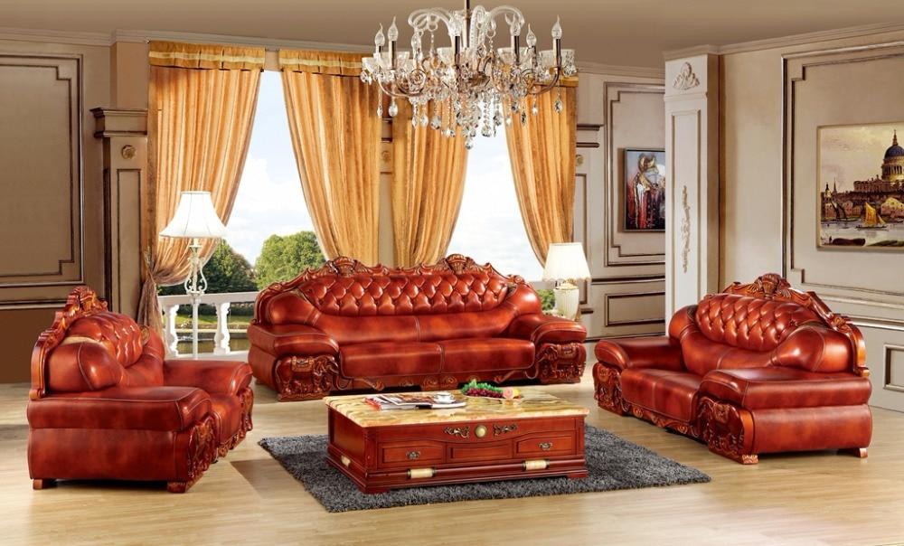 Luxurious Italian Leather Living Room Furniture: Luxury European Leather Sofa Set Living Room Furniture