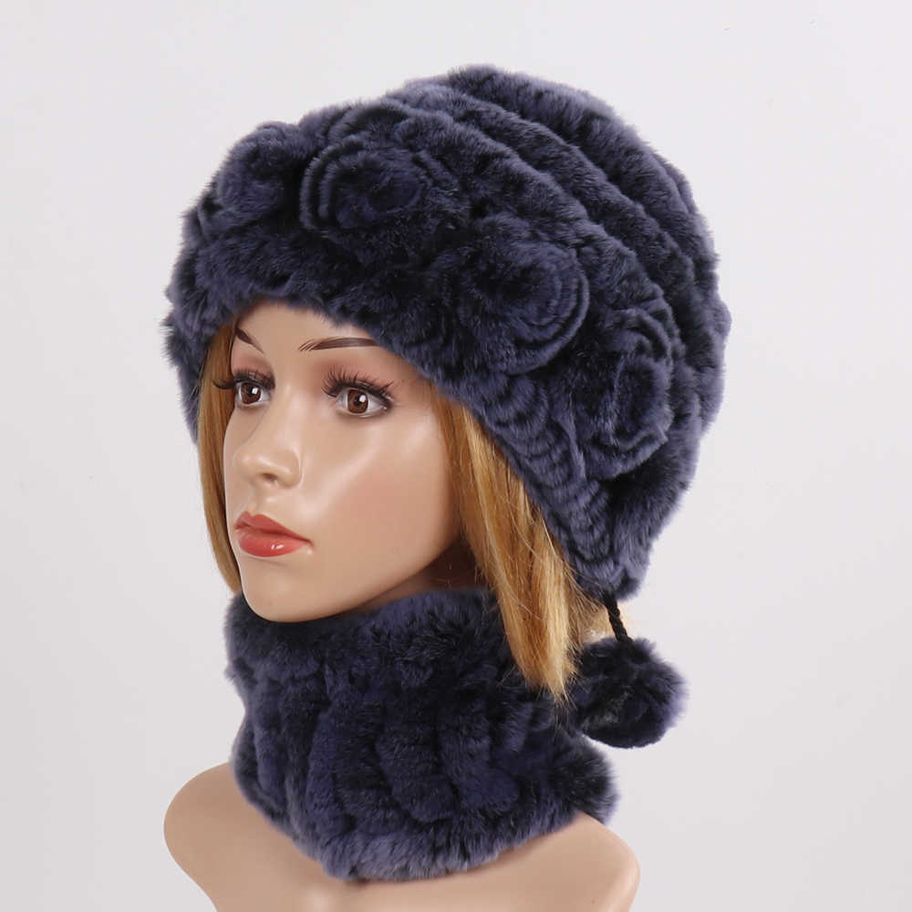 Новинка, Зимний вязаный Настоящий мех кролика, шапка, шарф, набор, женские вязаные шапки из натурального меха, шарфы, Хорошие эластичные шапки из натурального меха