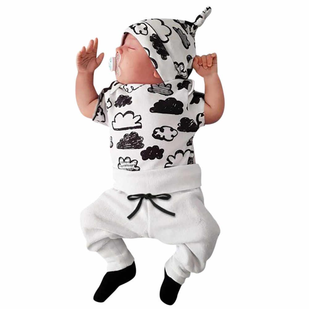 ילדי בגדי יילוד תינוקות תינוקת ילד ענן הדפסת T חולצה חולצות + מכנסיים תלבושות בגדי סט ילדים 3 pcs חליפת מכירה לוהטת #06