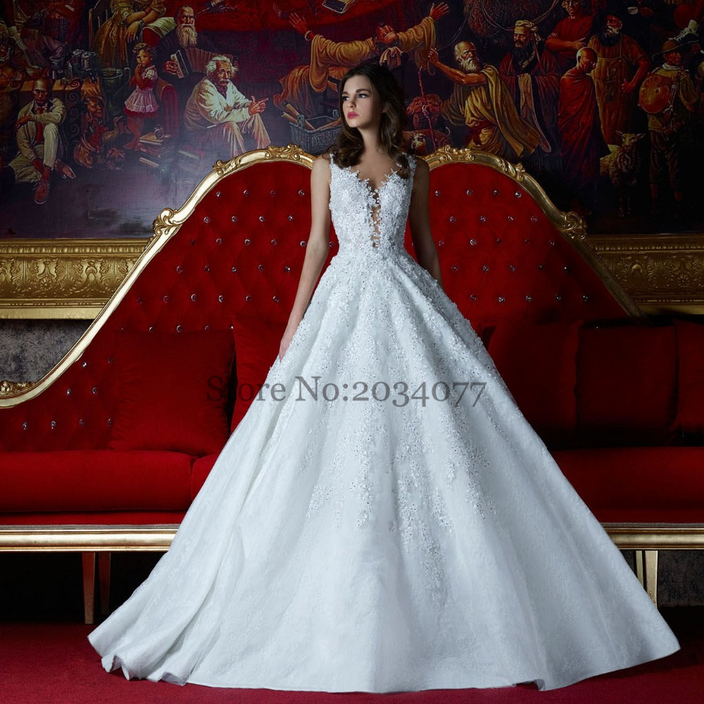 Greek Wedding Dress Lace Ball Gowns White Appliques Stones Sweep ...