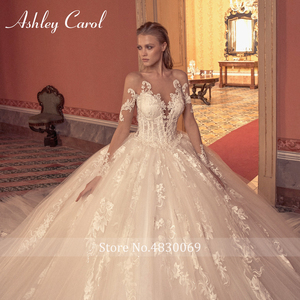 Image 5 - Ashley Carol Ball Gown Wedding Dress 2020 Long Sleeve Bridal Luxury Beaded Appliques Illusion Cathedral Princess Bride Dresses