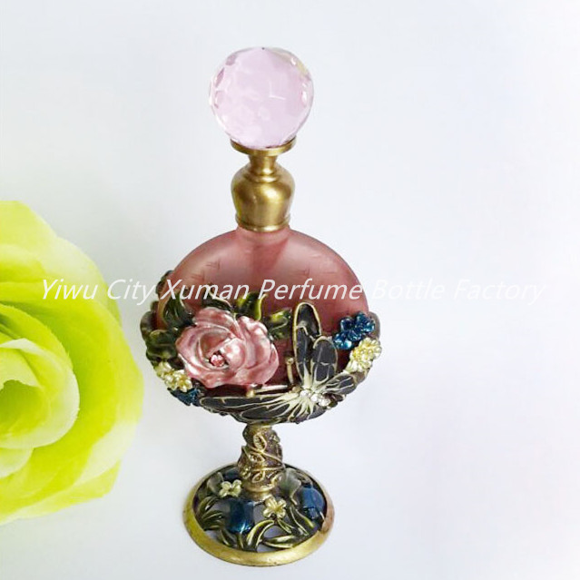 Retro Metal Empty Sunflower Beautiful Adornment Crafts Travel Gift Makeup Perfume Bottle For Birthday Gift