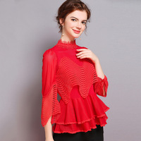 High Quality Brand Blouses 2019 Spring Fashion Cotton Blouse Women Beading Lace Patchwork Flare Sleeve Hollow Out Tops Red Black