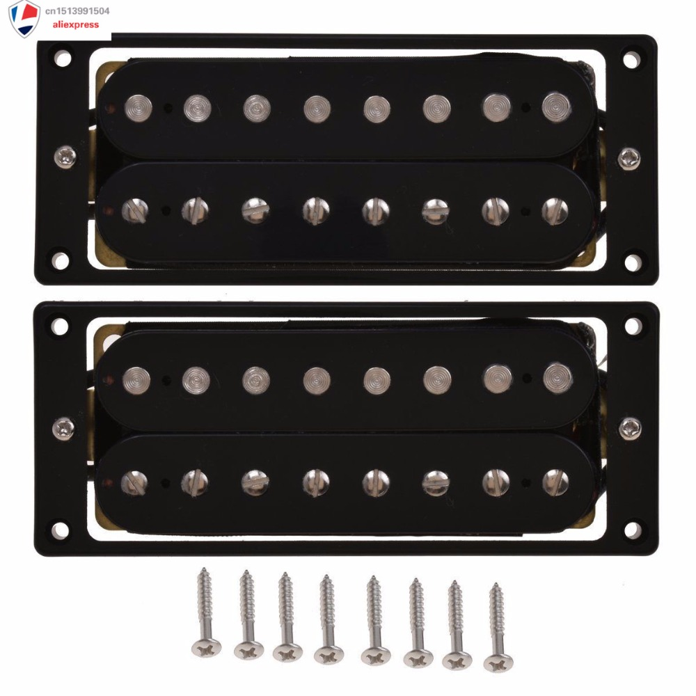 8 String Guitar Pickup Set Double Coil Humbucker For Electric Guitar (Black) guitar pickup humbucker gold chrome black double coil pickups electric guitar parts accessories bridge neck set