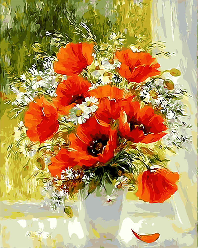 Diy window orange flowers abstract oil painting pictures for Floral acrylic paintings