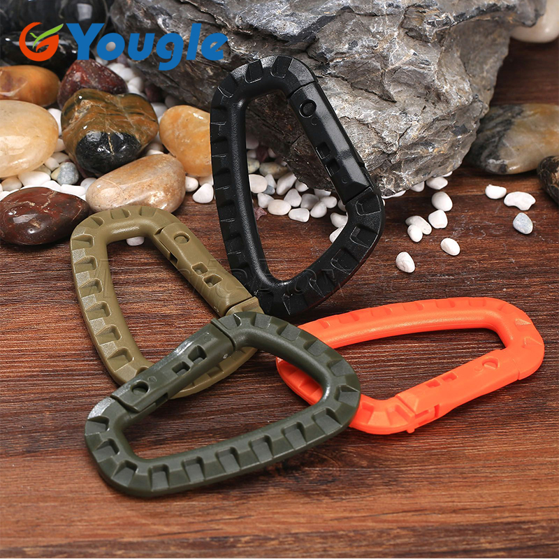 5 PCS Outdoor Plastic Carabiners Hanging Buckle Hook Keychain Bushcraft Survival Tool