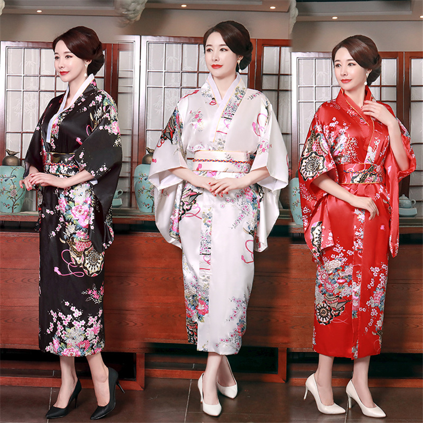 Japanese Women Traditional Costume Kimono Cardigan Sakura Dress Obi Girl Floral Print Court Vintage Party Cosplay Yukata Robe