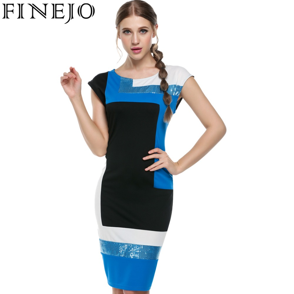 Finejo frauen mode sexy bodycon dress vestidos geometrische patchwork - Damenbekleidung - Foto 1