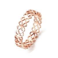 316L Titanium Steel Rose Gold Plated Anti Allergy Four Leaf Clover Ring Finger Ring Women Luxury