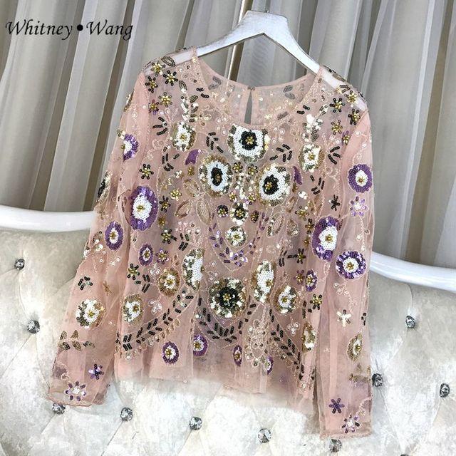 WHITNEY Ван Новые осень 2017 г. модные элегантные прозрачные Кружево Florals Вышивка Блёстки блузка женские рубашки blusas femininas