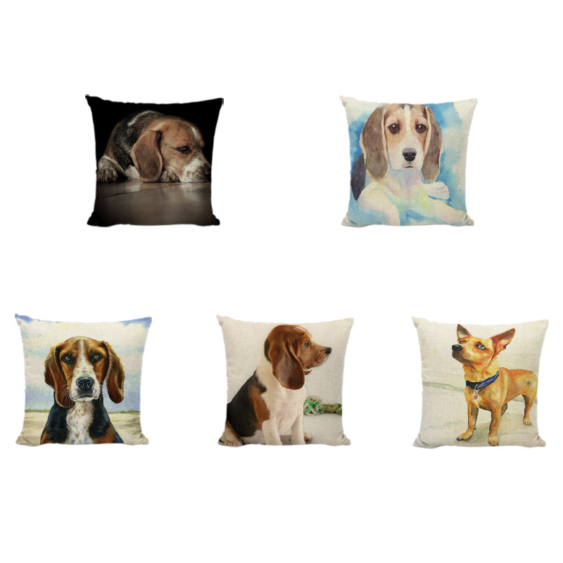 Cute Beagle Pattern Cushion Cover 43 * 43cm Single-sided Printing Linen Throw Pillowcase Party Home Sofa Yard Rocker Decoration