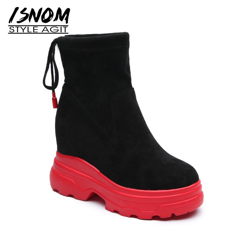 ISNOM Kid/Замшевые женские ботильоны с круглым носком; обувь на платформе; женские ботинки; модная обувь на толстом каблуке с вставкой; женская о