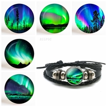 Green Natural Northern Lights Photo Glass Cabochon Dome Black Button Handmade Jewelry Leather Bracelet Fashion Accessories Gift