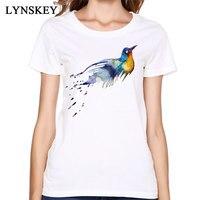 Funny Animal Robin Birds T Shirt Good Quality Natural Cotton Printing Women Short Sleeved Clothing Popular