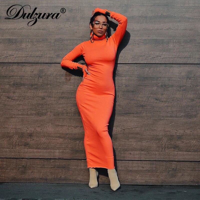 Dulzura femmes néon manches longues maxi robe côtelée tricoté col haut chaud 2019 automne hiver robe élégante moulante nouveaux vêtements