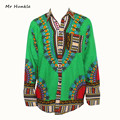 2016 Novo Design Africano Tradicional de Impressão 100% Algodão camisas para unisex Mulheres Camisa Dashiki Africano Dashiki