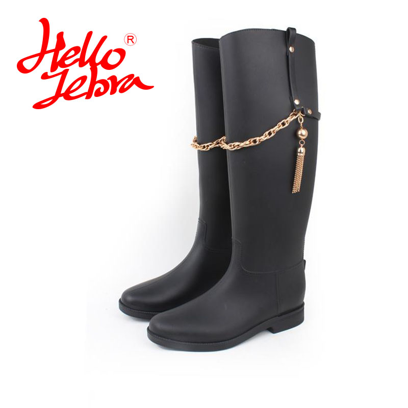 Hellozebra Women Ankle Solid coler Rain Boots Lady Solid Elatic Waterproof Welly Buckle Nubuck Rainboots 2017 New Fashion Design women tall rain boots ladies low hoof heels waterproof graffiti buckle high nubuck round toe rainboots 2016 new fashion design