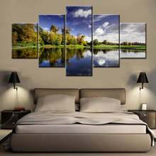 The European Landscape Poster Print Canvas Painting 5pcs/set Modular High Quality for Modern Home Decoration Gift Drop Shipping(China)