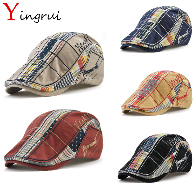 Cotton Patchwork Plaid Newsboy Cap Adult Cabbie Caps Letter