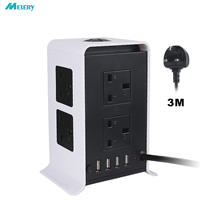 Vertical Power Strips Surge Protector Overload Protection 8 Way Outlets Socket with USB 3m/9.8ft Extension Cord for Home Office