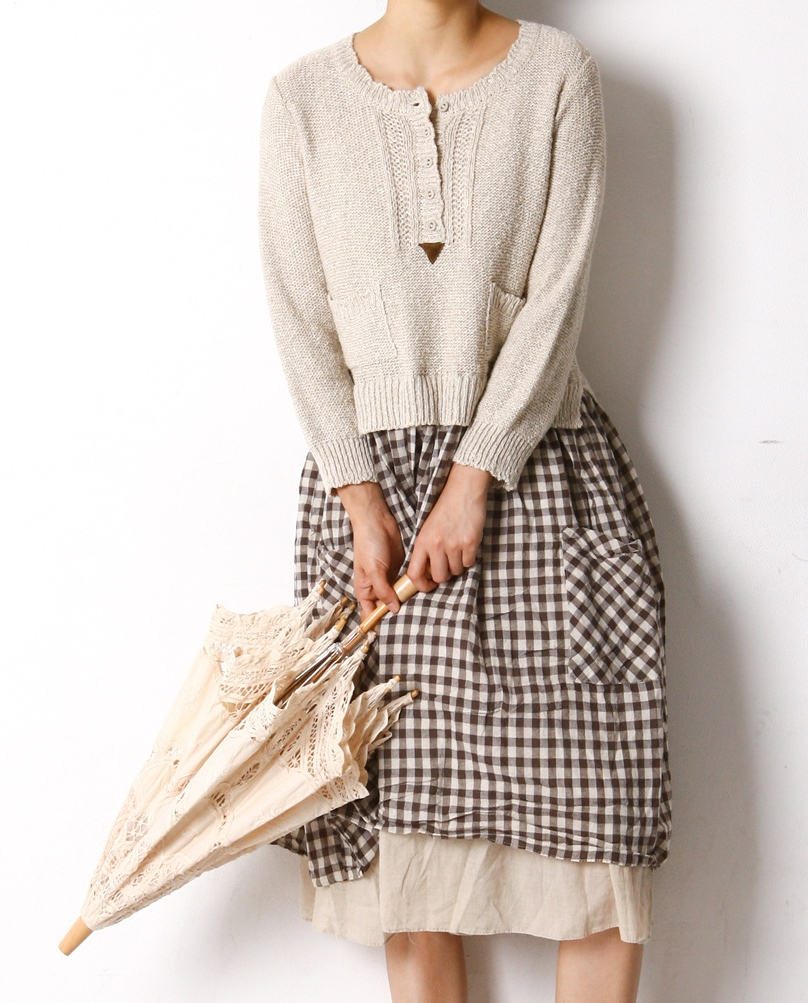 Womens Long Sweater Dress Mori Style Cotton Bottom Sweater Top Spliced Robe Longue Femme Plaid Solid Umbrella Dress