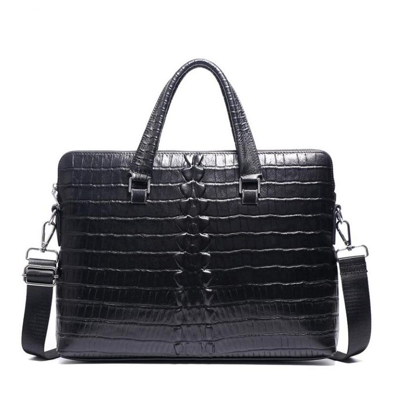 New Mens Bag Genuine Leather Men Handbags Briefcase Crocodile Pattern Cow Leather Men's Shoulder Bag Business 14 Inch Laptop Bag