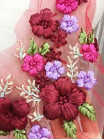 1 шт. ручной работы 3D цветок кружева аппликация в красное вино розовый фиолетовый Разноцветные для свадьбы волос цветок, ребенок оголовье