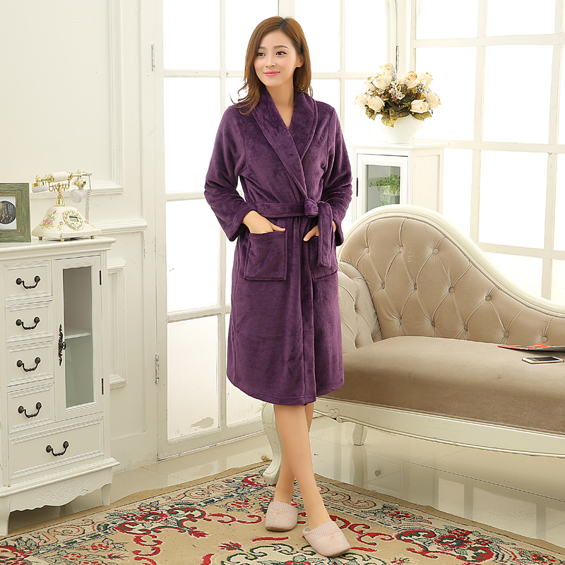 6da2624612 Women Men Soft Warm Coral Fleece Long Bathrobe Winter Kimono Flannel Bath  Robe Nightgown Womens Dressing