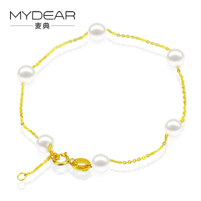 MYDEAR Fine Pearl Jewelry Beautiful Trendy 100% Real 4-5mm Akoaya Pearls Bracelets For Women Pearl Gold Chain & Link Bracelets