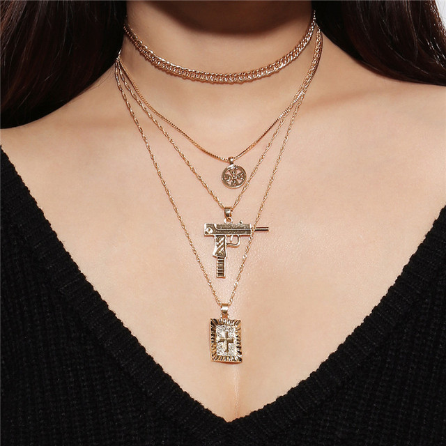 Hip Hop Gun Cross Long Pendant Necklace For Women Gold Silver Multilayers Link Chain Choker Necklace Collar Jewelry Party LN0036