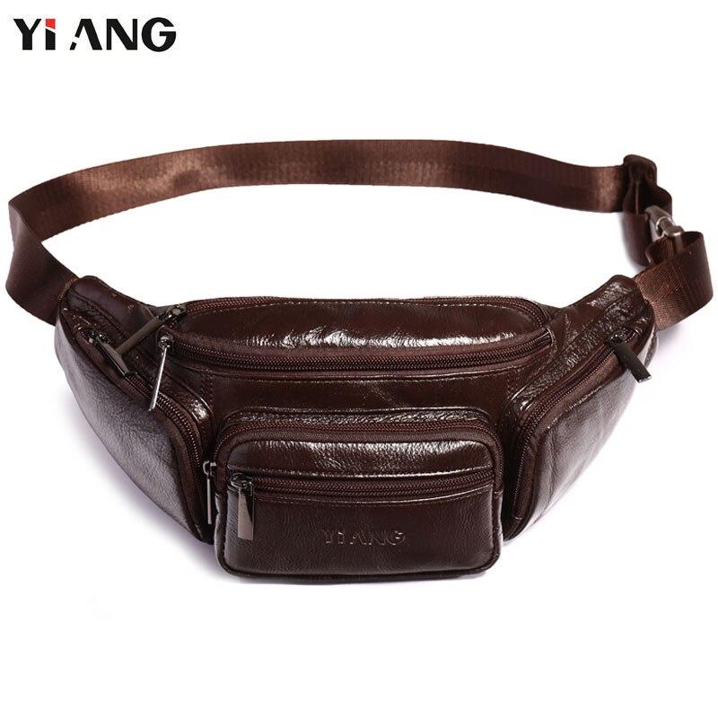 YIANG Brand Designer Men Waist Bag Real Leather Belt Bag Solid Färg - Bälten väskor - Foto 1