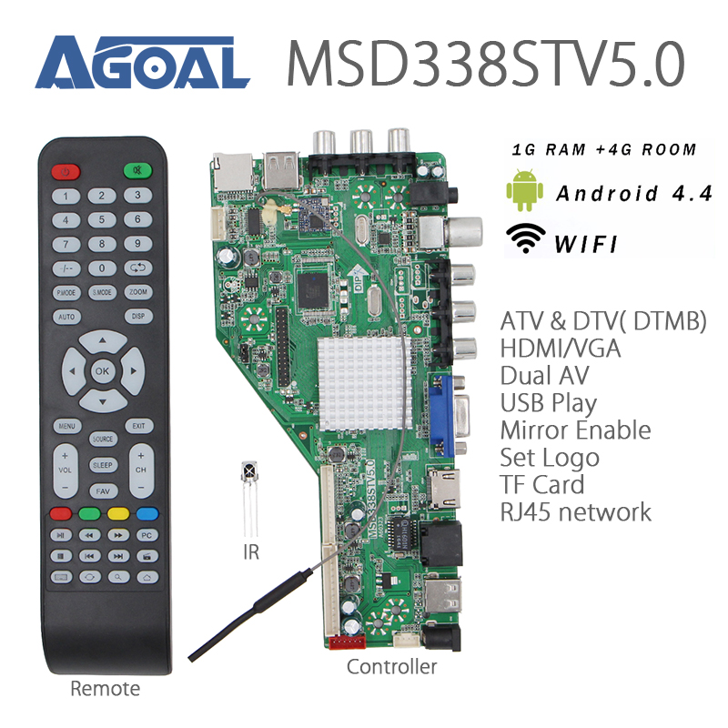 US $45 49 5% OFF RAM 1G + 4G storage MSD338STV5 0 Intelligent Wireless  Network TV Driver Board Universal Andrews LCD Controller 1024M Android-in