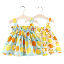 OKLADY 2019 Lemon Dresses for Baby Girls Outfit Sling Tube Top Dress Summer Fruit Little Girl Baby Dress Cute Kid Dress Casual