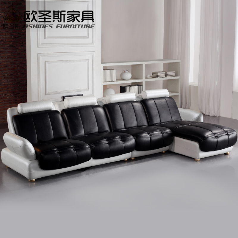 Latest L Shaped Sofa Designs Black And White Two Color 2016 New Model  Chesterfield Italy Modern