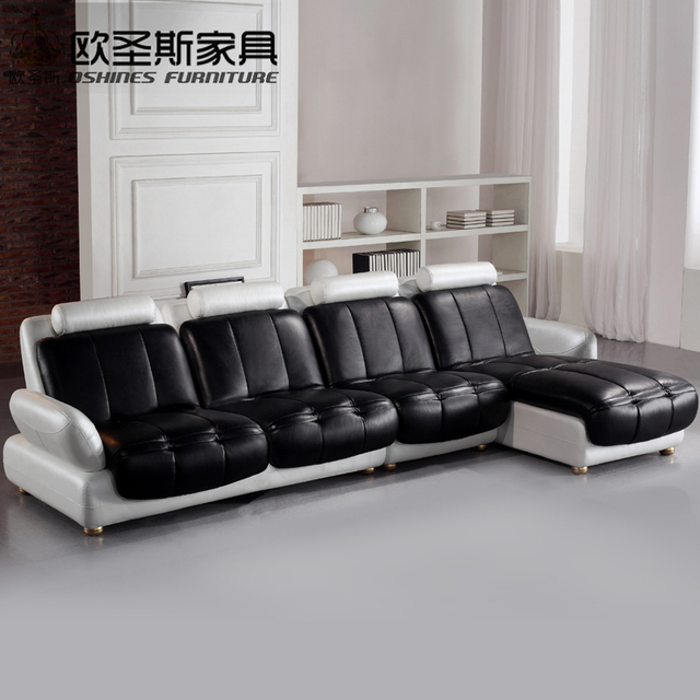 Latest L Shaped Sofa Designs Black And White Two Color 2016 New Model Chesterfield Italy Modern Leather Sets Replica 629