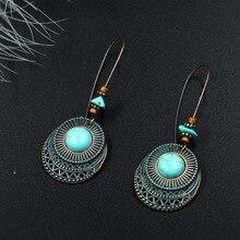Women Bohemian Earrings Long Round Green Jewelry Antique Metal For