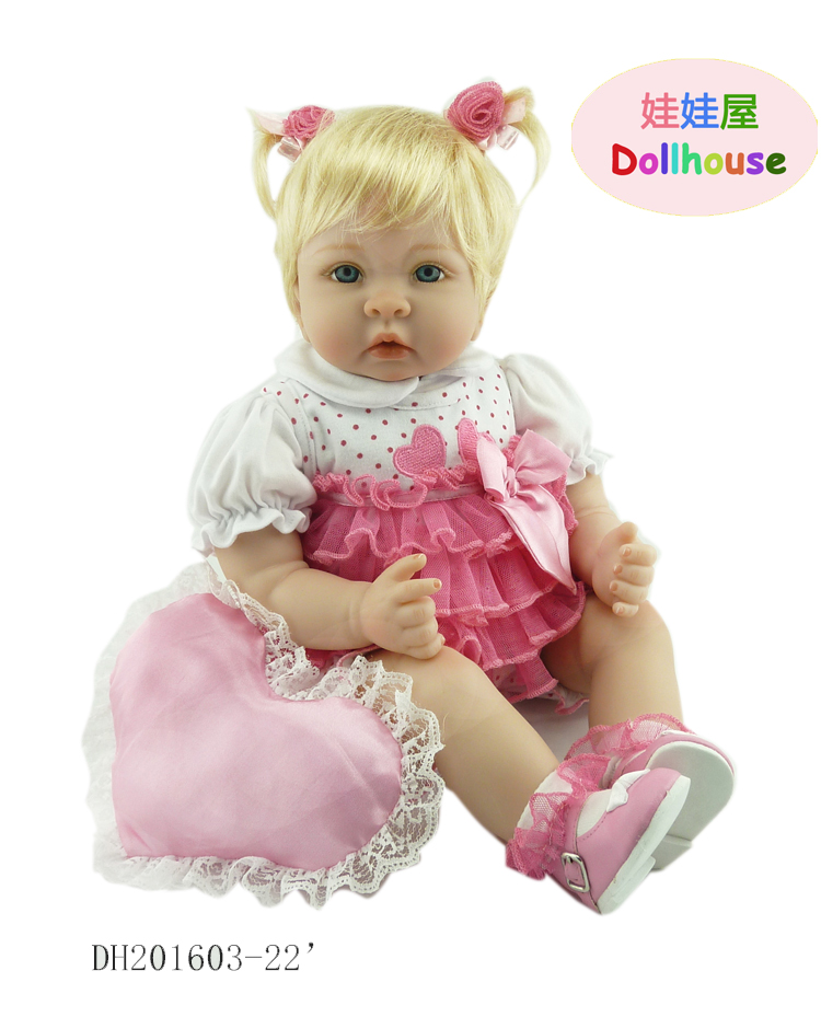 22 inch rebirth doll 55cm soft silicone vinyl blonde love doll princess reborn bone doll kid partner gift 22 58cm rebirth doll soft silicone eva matryoshka doll princess reborn domino dress blond kid christmas gift