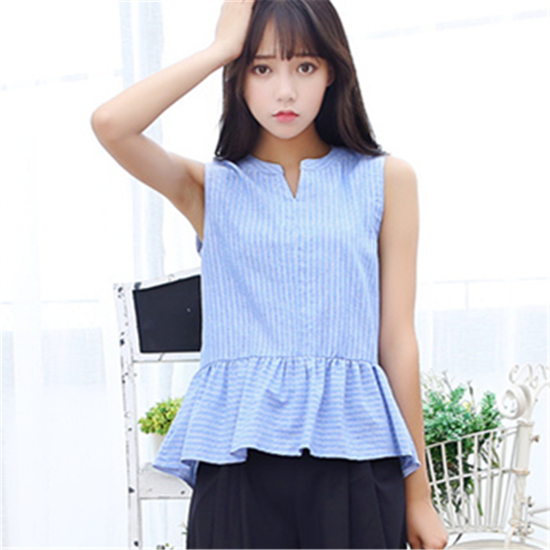 Las mujeres Blusa de algodón sin mangas azul blanco A Rayas camisa Office lady e