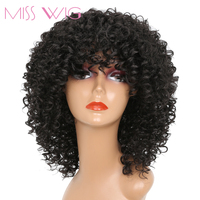 MISS WIG 14Inches Long Afro Kinky Curly Wigs For Black Women Blonde Mixed Brown Red Synthetic
