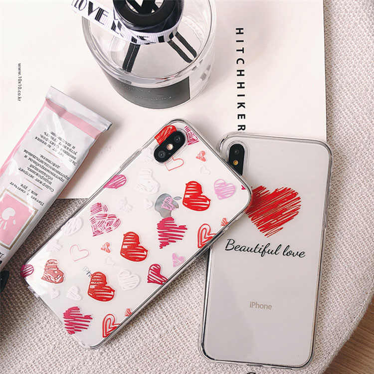 Case on For iPhone X XS 7 6 6s 8 Plus X XR XS MAX XS Cute Love Heart Stars Phone Transparent Silicon Soft TPU Cover Coque