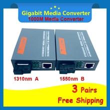 Convertidor de medios ópticos de fibra Gigabit HTB GS 03 A & B, 1000Mbps, Puerto SC de fibra de modo único, fuente de alimentación externa de 20KM, 3 pares
