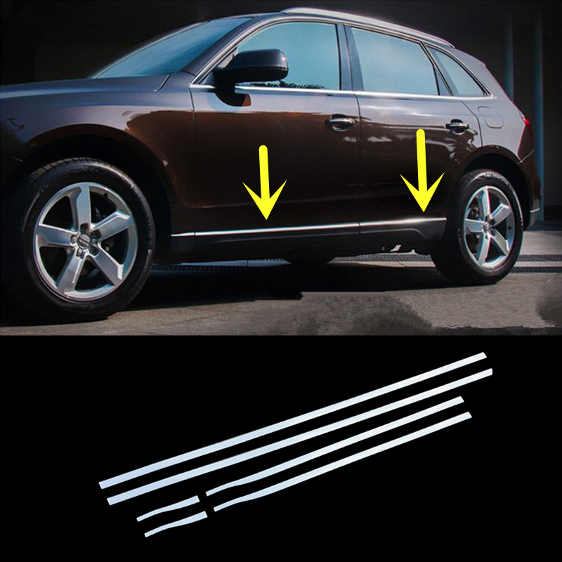 Stainless Side Door Body Molding Cover Trim 6pcs For Audi Q5 8R 2009-2015 4pcs stainless steel side door body molding cover trim for bmw x5 f15 2014 2015 car accessories